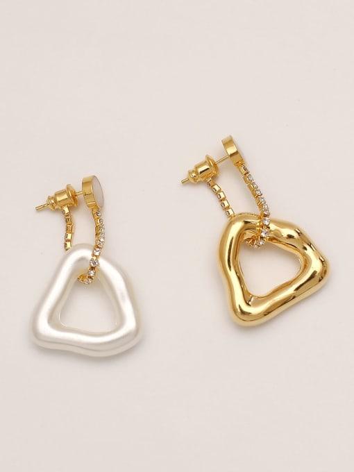 Golden white [triangle] Brass hollow Geometric Vintage Drop Earring